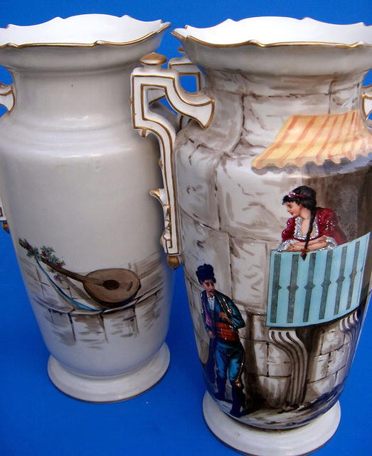 WELL PAINTED OLD PARIS PAIR OF VASES EXTRA NICE