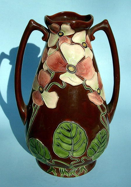 Incredible Amphora Austrian art nouveau 2 handled vase