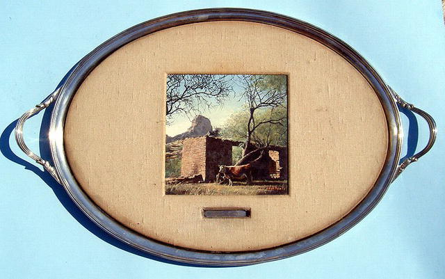 BIZARRE OIL PAINTING ON SILVER PLATE TRAY WESTERN SCENE