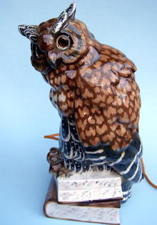ERNST BOHNE OWL ON BOOKS PORCELAIN PERFUME LAMP