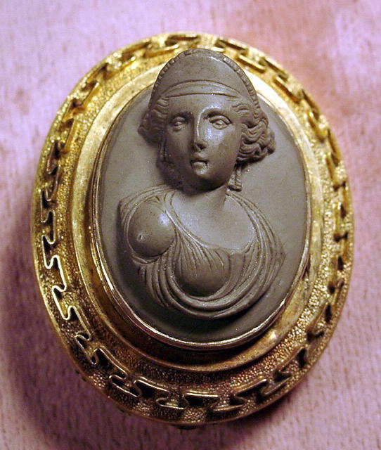 1860s LAVA CAMEO WITH GREEK KEY BORDER 14K HIGH RELIEF