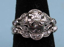 NICE DECO 14K WHITE GOLD RING SET 1+ CARAT 28 STONES