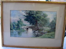 D WHIT CLARKE DATED 1893 WATERCOLOR OF BRIDGE SCENE