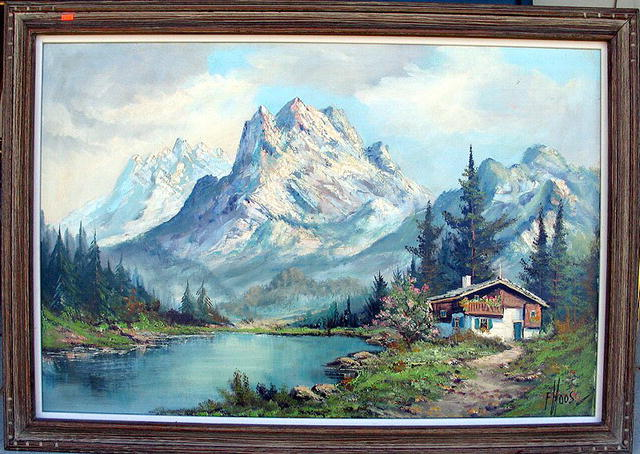 HOOS, Frans Simon (1884-1966) LARGE PAINTING OF ALPS