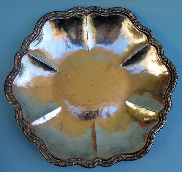 LARGE WELSCH 900 SILVER LOBED BOWL HAND HAMMERED ARTS
