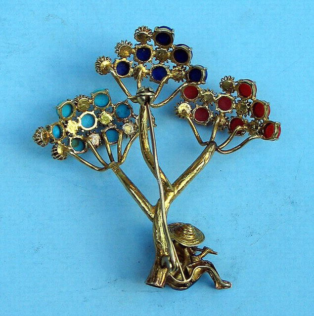 QUALITY 14K TREE W/ MAN ENAMELED CORAL TURQUOISE LAPIS
