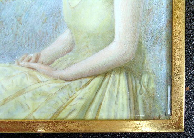LARGE PAINTING ON IVORY OF WOMAN SIGNED HASKELL