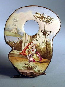 VERY NICE BATTERSEA ENAMELED WATCH HOLDER 1790s