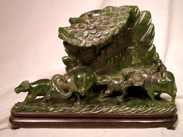 SPINACH JADE CARVED FIGURES OF WATER BUFFALO GROVE
