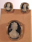 SARDONYX HARDSTONE 14K CAMEO SET EARRINGs PIN