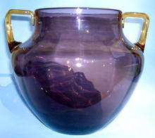 LARGE STEUBEN / SINCLAIR PLUM VASE WITH AMBER