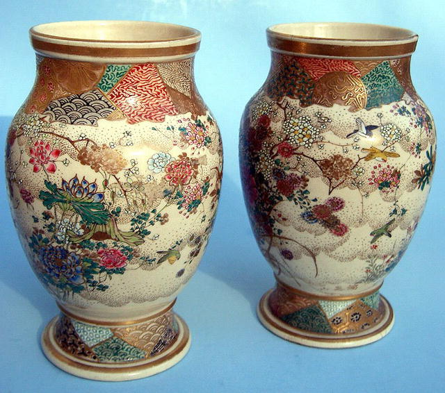 KINKOZAN PAIR OF SATSUMA VASE WITH BIRDS NICE!