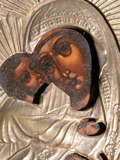 RUSSIAN Vladimir MOTHER OF GOD MARY JESUS ICON OKLAD