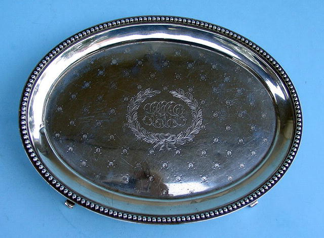 J E CALDWELL STERLING FOOTED TRAY CIRCA 1880