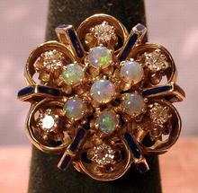 BEAUTIFUL 14K ENAMEL OPALS AND DIAMONDS RING