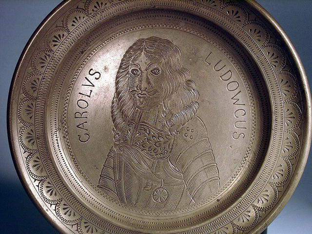 PRINCE CHARLES LOUIS PEWTER PLATE CIRCA 1690