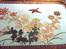 BEAUTIFUL MEIJI JAPANESE CLOISONNE TRAY BRASS BAMBOO