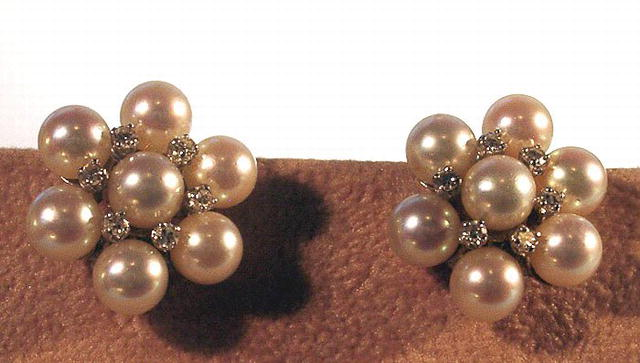SIGNED DESIGNER PEARL AND DIAMOND EARRINGS
