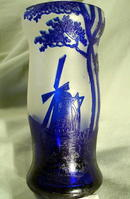 AUSTRIAN CAMEO GLASS WINDMILL LIKE GALLE DAUM