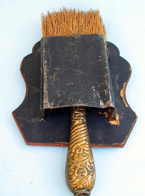 VERY COOL WHISK BROOM HOLDER W/ CUPIDS FRENCH 19th C