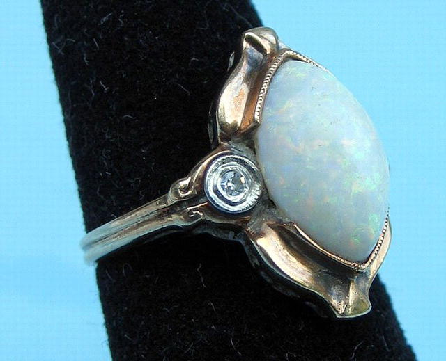 NICE DECO 14K WITH OPAL DIAMONDS GREAT LOOK