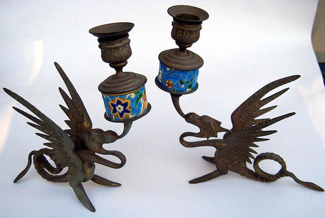 LONGWY INSERT PAIR OF BRASS CANDLESTICK S WITH DRAGONS