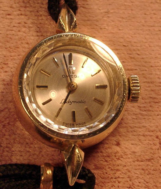 LADIES 14K OMEGA LADYMATIC WRIST WATCH FACETED CRYSTAL