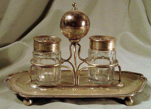 19th Century INKSTAND W/SANDER SILVER PLATE / SHEFFIELD