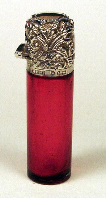 ENGLISH STERLING SCENT BOTTLE CRANBERRY