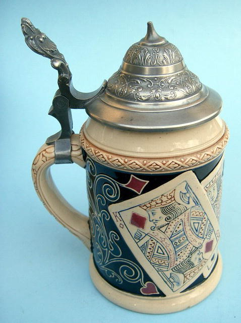 NICE GERMAN STEIN WITH PLAYING CARDS DEVIL ISH