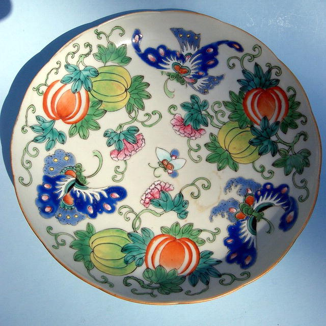 GUANGXU PLATE WITH BUTTERFLIES MELON COLORFUL