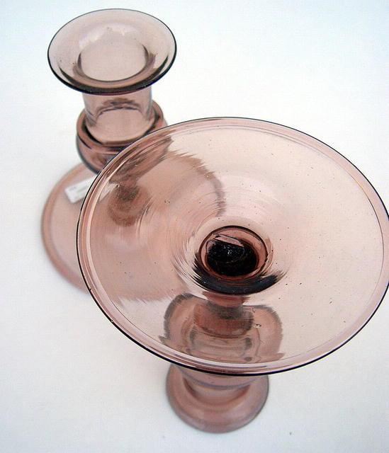 STEUBEN VENETIAN GLASS CANDLESTICK AMETHYST