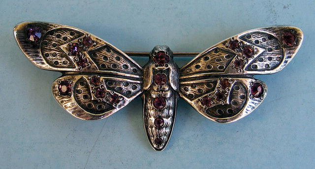 VERY COOL MOTH OR BUTTERFLY STERLING AMETHYSTS