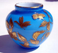 GREAT WEBB VASE WITH GILDED BUTTERFLIES INSECTS
