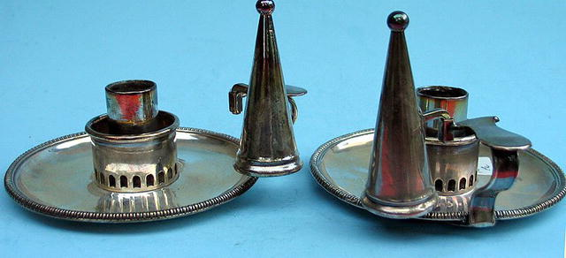 OUTSTANDING PAIR OF SILVER PLATE CANDLESTICKS C 1800