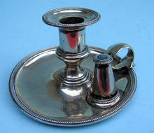 ELKINGTON OR ENGLISH SHEFFIELD CANDLESTICK WITH SNUFFER