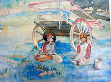 SIGNED 1933 WATERCOLOR OF GYPSY FAMILY BY CART