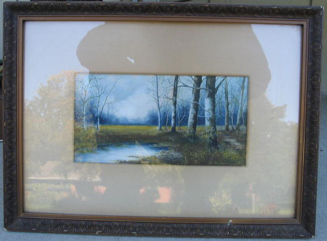 NICE OIL PASTEL WINTER FOREST SCENE QUALITY WORK