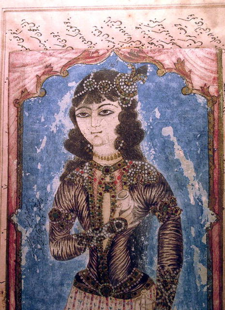 VERY EARLY PERSIAN MANUSCRIPT PAGE WITH WOMAN