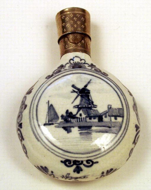DELFT 19th C SCENT BOTTLE STERLING TOP