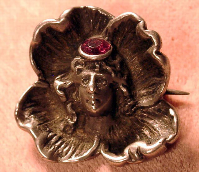 STERLING ART NOUVEAU PIN W/WOMAN IN FLOWER RUBY