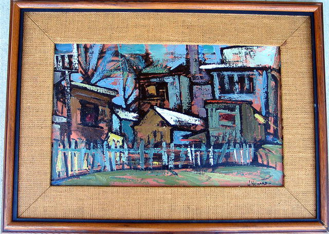 ABSTRACT OIL PAINTING SIGNED J. HOWARD LISTED ARTIST