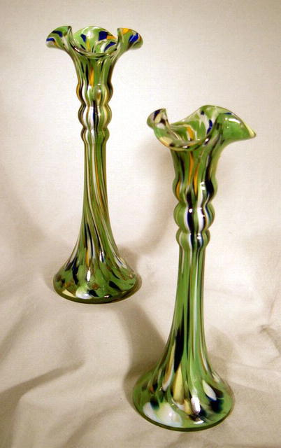 VERY NICE PAIR CZECHOSLOVAKIA CANDLESTICK GREAT COLOR