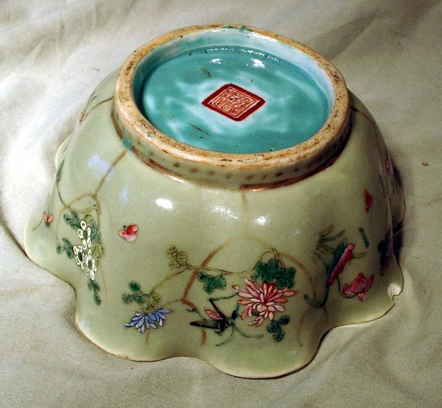 CHINESE CELADON BOWL INSECTS GRASSHOPPER TONGZHI MARK