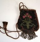 AWESOME FLORAL BEADED PURSE W/DRAWSTRING
