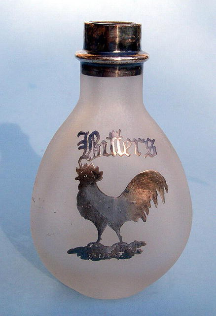 STERLING OVERLAY BITTERS BOTTLE WITH HEN