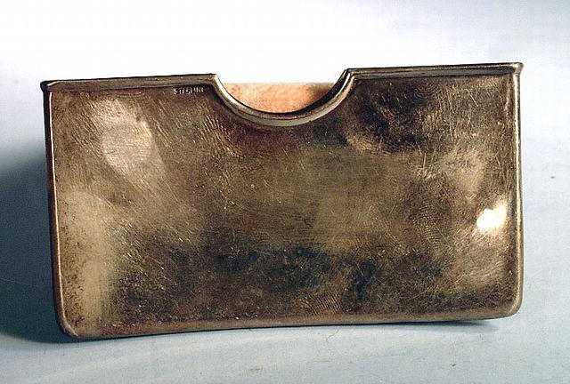 NICE CURVED STERLING CALLING CARD HOLDER 1900s