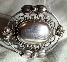 GEORG JENSEN STERLING BROOCH #91 ARTS CRAFTS