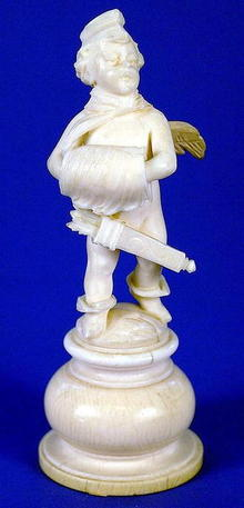 SUPERB EUROPEAN IVORY CUPID FIGURE 19TH C