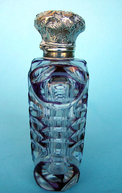 PURPLE OVERLAY FLIP TOP SCENT BOTTLE STERLING TOP COOL!